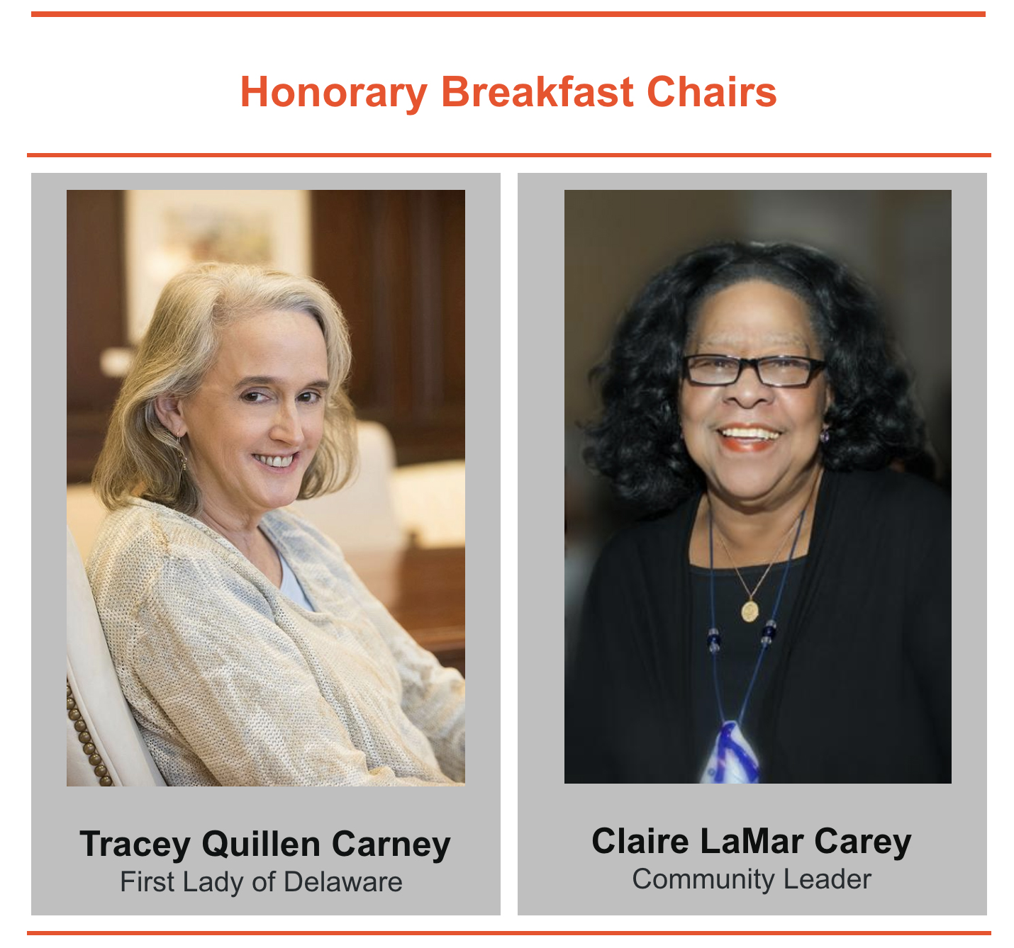 Tracey Quillen Carney, First Lady of Delaware & Claire LaMar Carey Community Leader