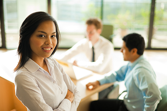 Business meeting focus on woman